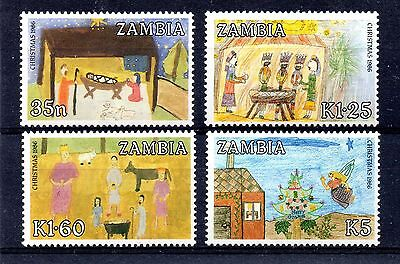 Zambia (793) 1986 Christmas. Children's Paintings set Lightly mounted Sg468-71