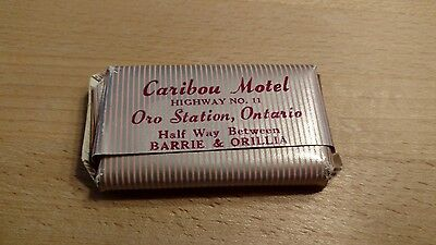 vintage hotel travel soap. will combine ship. Caribou Motel Oro station Ontario