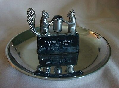 Hamilton Products Chrome Squirrel Ashtray & Match Holder Specialty Advertising