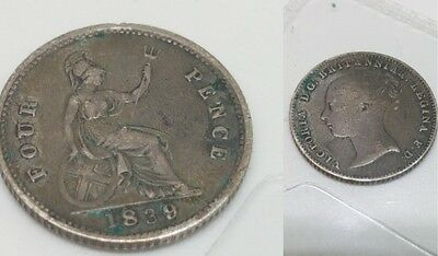 1839 Silver Four Pence (Groat) Coin good condition for it age