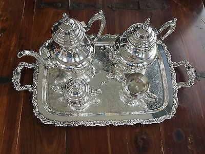 Vintage Oneida U.S.A Silver Plated Five Pieces Coffee and Tea Set with Tray
