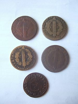 Lot de 5 monaies de Louis XVI (dont 4 de 6 deniers)