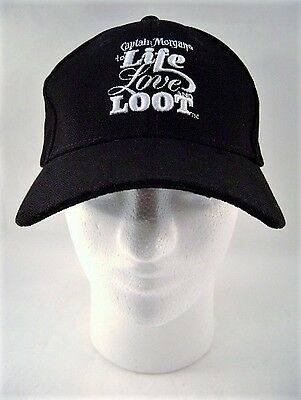 Black Hat Baseball Cap Captain Morgan Life Love Loot New Old Stock One Size