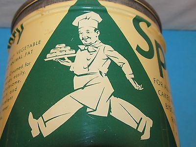 Vintage SPRY Vegetable Shortening Tin Kitchen BAKING Pies Cakes Chef Graphics