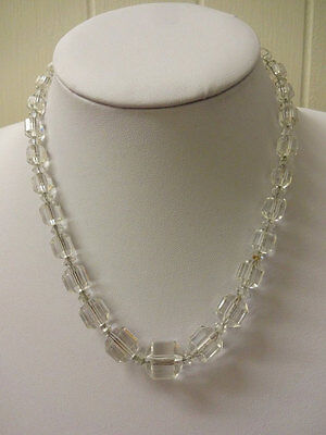 Vintage Art Deco Clear Faceted Crystal Necklace,  Crystal Necklace Czech Crystal