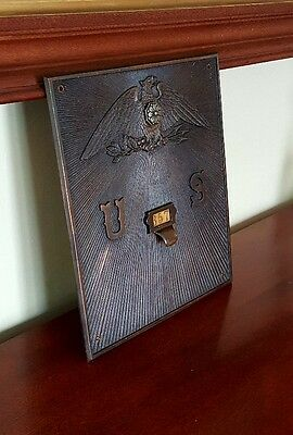 Rare 19thC Antique Large Bronze US Post Office Mailbox Mail Door Hatch
