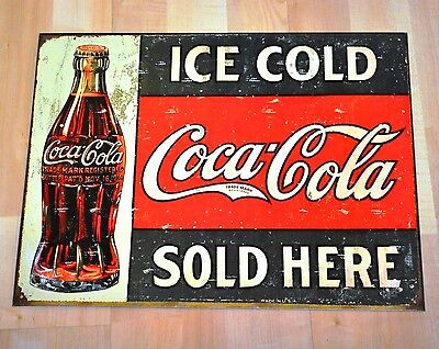Coca-Cola Coke USA 40 cm Blechschild Blech Schild - Flasche Ice Cold Sold Here