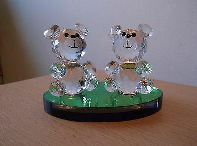 2 Cut Glass Bears on Colour changing Stand