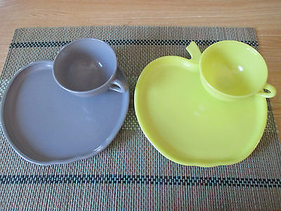 Four Piece Set of Hazel Atlas Orchard Ware 2 cups & 2 Sandwich or Snack Dishes