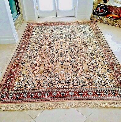 Turkish Handmade Hereke Rug Carpet Turkey Flowers 7 Mountains Wool 7'10""
