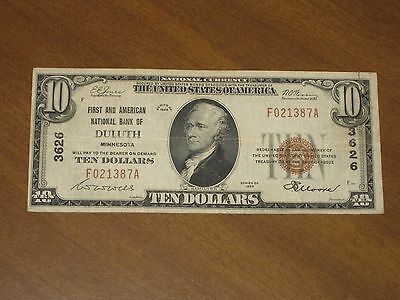 1929 Type 1 $10 National Bank Note - First America NB Duluth Minnesota #3626