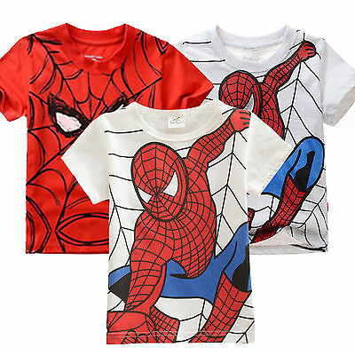 Kids Boys Spiderman Tops Short Sleeve T-Shirts Summer Tee Top Age 2-7 Years