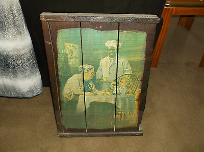 Vintage Advertising Print  on wooden crate slated picture of CREAM OF WHEAT