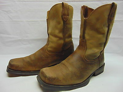 Ariat Rambler Mens 11 EE Brown Bomber Leather Square Toe Western Cowboy Boots