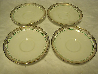 VTG Adderley Bone China #838958 GREEN WITH GOLD LOT OF 4 SAUCERS Made in England