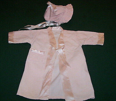 CHARMING VINTAGE INFANT COAT & BONNET, PINK CORDUROY, VERY GOOD CONDITION, c1950