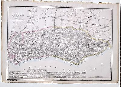 1864 Large Antique Map ~ Sussex Brighton Hastings Chichester Winchelsea