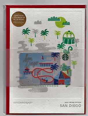Starbucks Christmas Gift Card With Envelope Limited Ed. 2016 San Diego Sealed