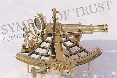"Nautical Sextant 9"" Solid Brass Working Astrolabe Ship Instrument Vintage Gift."