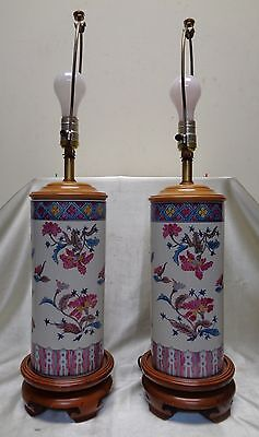 Beautiful Pair of Vintage Porcelain & Wooden Lamps w Hand Painted Floral Designs