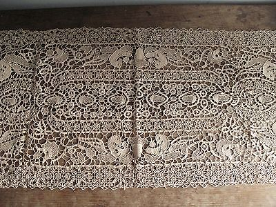 Antique Crochet Lace Runner - Animals -