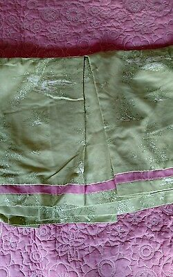 Pottery Barn Twin Jocelyn Toile Pleated Bed Skirt Green Toile Pink trim