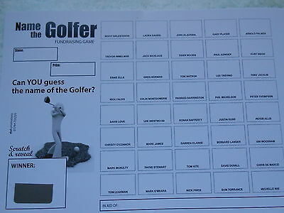 Golfer Scratch Cards (B&w) - 40 Spaces- Great Fundraiser - Set Of 5 Raise £100