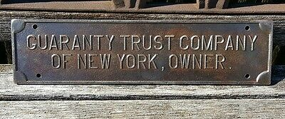 1920's Guaranty Trust Company of New York NYC Owners Train Insurance Plaque