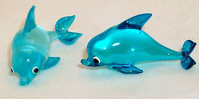 Dolphin light Blue opaque MINI-Art SIZE ARTGLASS hand-crafted 6 pc. box lot