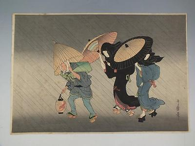 "Japanese Woodblock Print By Utagawa Toyokuni I  ""rainstorm"""