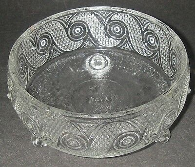 AVON Pressed Glass CRYSTALIQUE Clear Beauty Dust Candy Dish 3-toed Bowl 1972