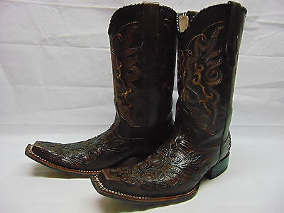 Mens 9 D Brown Tooled Leather Square Toe Western Cowboy Riding Dance Boots
