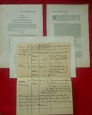 Lord Nelson page from Victory log book from  original sales catalogue 1926 RARE