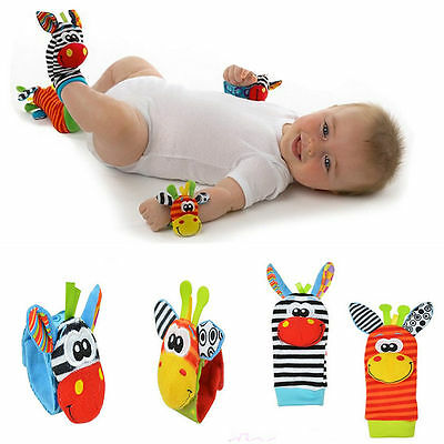 THE BEST! 4pcs set Animal Infant Baby Kids Hand Bell Foot Sock Rattles Soft Toy