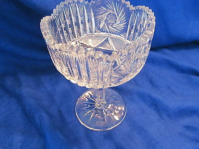 vtg cut glass stem compote candy  dish exct condition