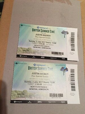 2 X Justin Bieber Tickets - Hyde Park - General Admission Sunday 2nd July