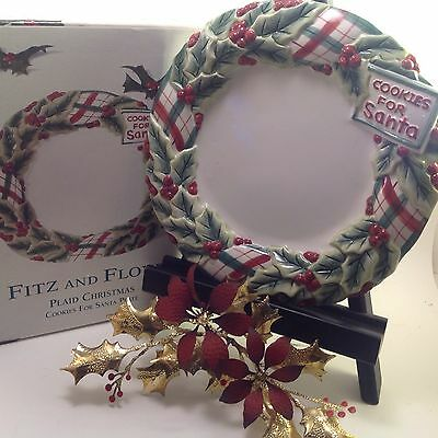 Fitz and Floyd Cookies for Santa Plate ceramic Plaid Christmas collection