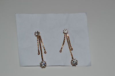 GORGEOUS PAIR OF 9ct GOLD CZ CRYSTAL DROPPER DROP DANGLE EARRINGS BOX CHAIN