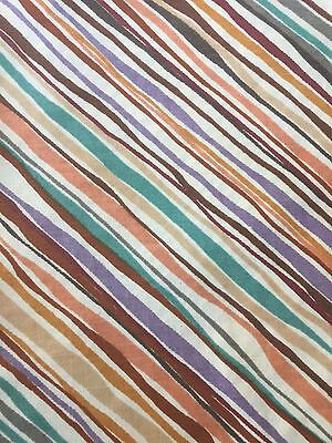 Vintage MARTEX No Iron Percale Striped Fitted Sheet Multi-Colored