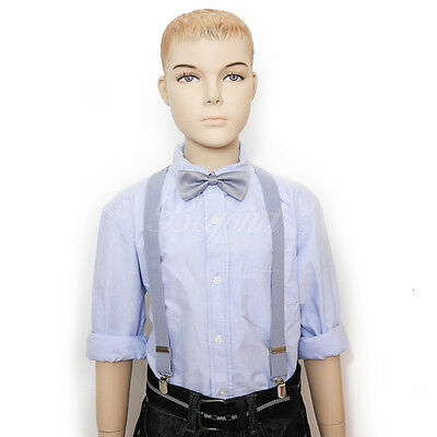 Hi Fashion Tuxedo Suspender and Bow Tie Set for School Boys Girls Children Gray