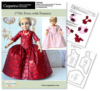 """Outlander Claire Red Dress Sew Pattern for 18"""" Carpatina & American Girl Dolls"""