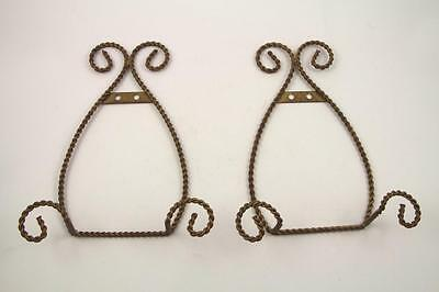 2 Gold Tone Twisted Wire Plate Hanger Stands~Wall Mount