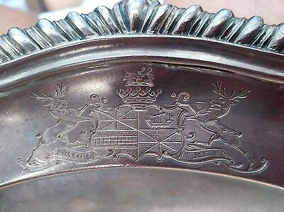 1778 Antique Georgian Sterling Silver Charger Plate William Soame 2 Coat Of Arms