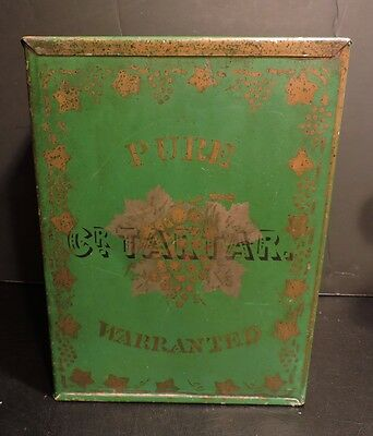 Large Antique Tin General Store Counter Canister Cream Of Tartar Stencilled Box