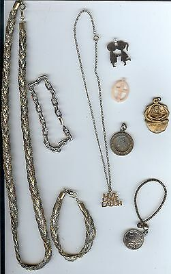 Vintage Retro Estate Jewelry Lot - Silver toned , Tri color necklace / bracelet+