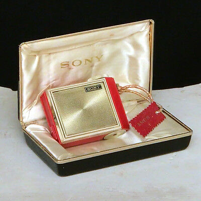Vintage tiny SONY micro transistor radio with box 1R-81 RED Japan works