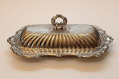 Vintage Silver Plate Butter Dish with Glass dish and Lid - GVC