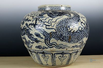 Fine Beautiful Chinese Huge Blue and white porcelain Dragon Pot