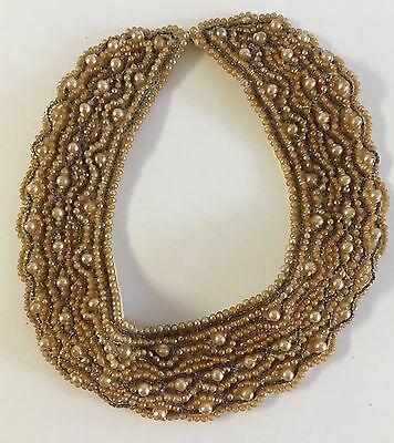 Vintage Beaded Faux Pearl Collar Necklace - Tagged Made In Japan