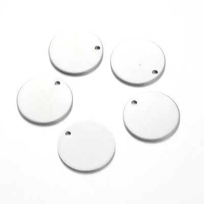 10pcs Flat Round Stainless Steel Tag Pendants Stamping Blanks Small Charms 20mm
